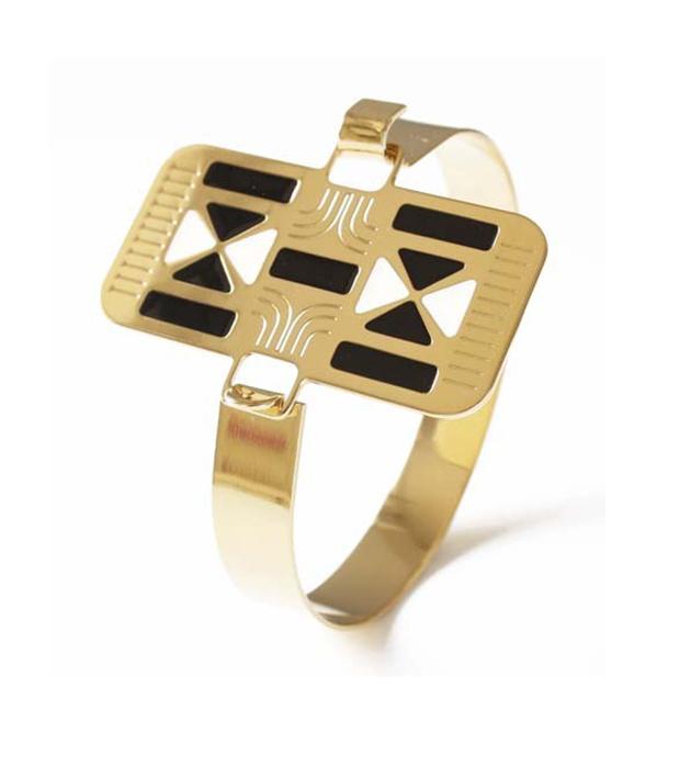 оригинальный браслет с чёрно-белой эмалью Croisade Dore от французского бренда Chic Alors Paris