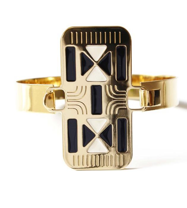 купите браслет в стиле арт-деко Croisade из позолоченной латуни от Chic Alors Paris