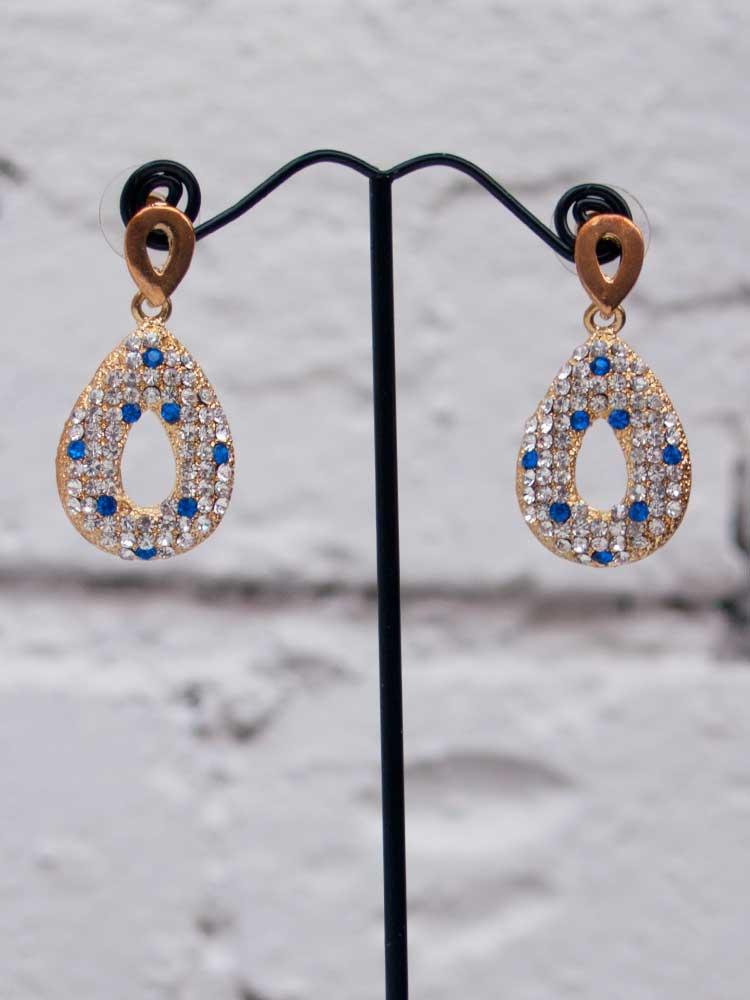 Винтажные серьги с белыми и голубыми кристаллами (6)