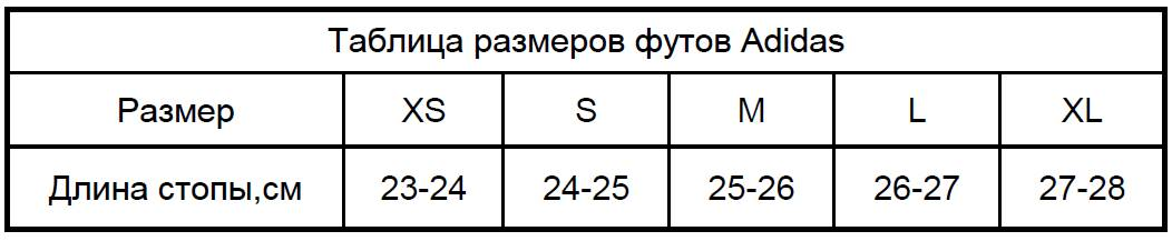 Размеры футов Адидас