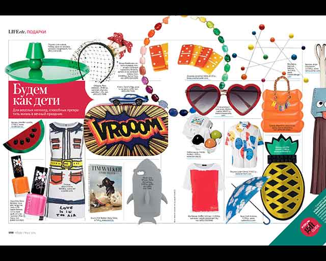яркие броши из плексигласа от английского бренда Jennifer Loiselle в журнале InStyle март 2015 г.