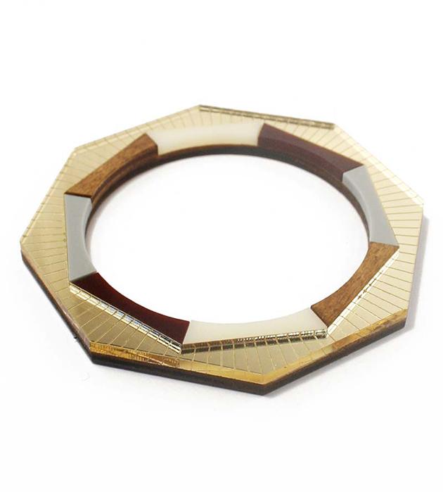 изящный геометричный браслет из дерева и плексигласа от Wolf&Moon - Sun Burst Bangle Gold