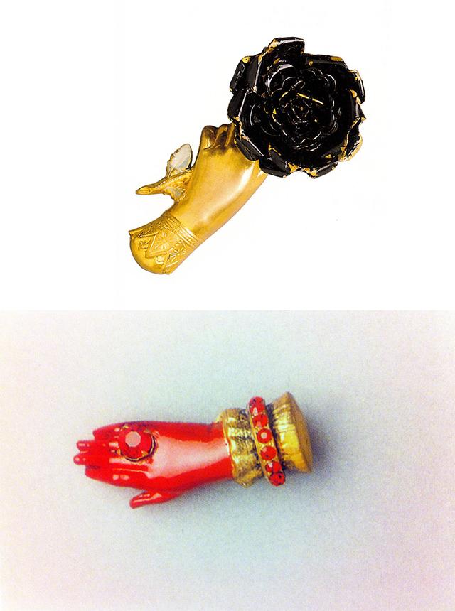 броши в форме рук от Эльза Скиапарелли