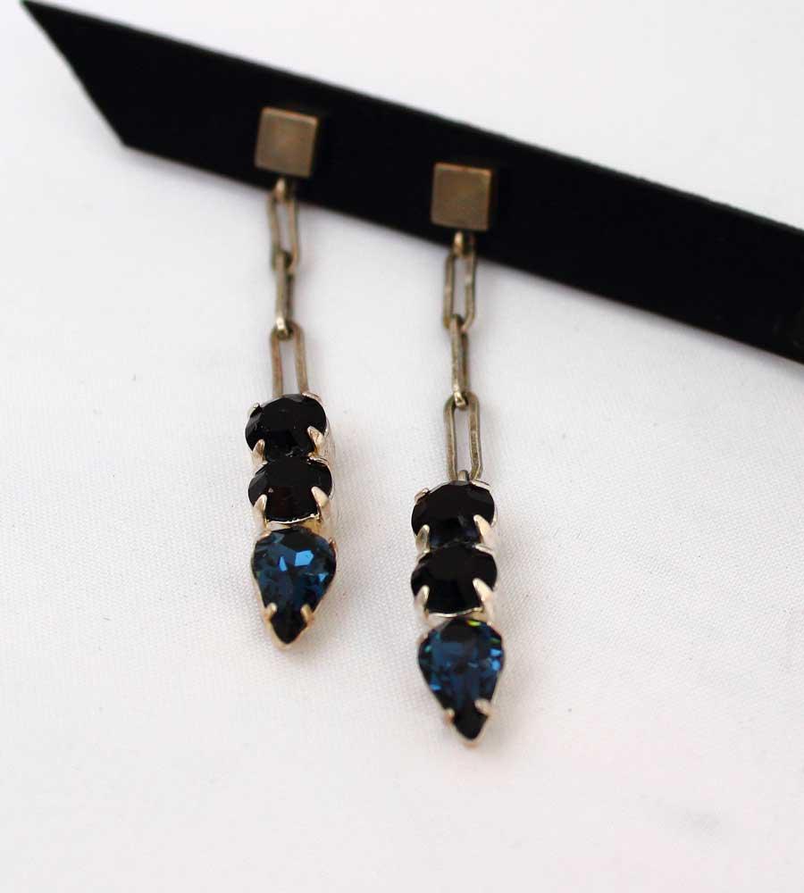 синие серьги с кристаллами сваровски фото