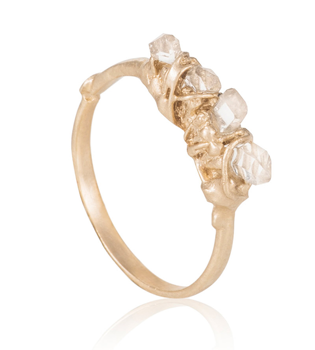 необычное кольцо Ice Age ring ручной работы с камнями кварца от Cristina Zazo