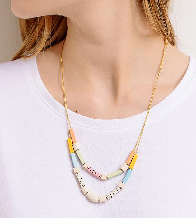двойное разноцветное ожерелье из дерева Congo от Apres Ski
