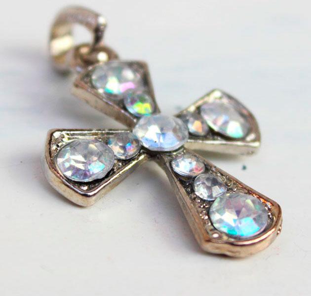 купить Винтажная  подвеска крест с кристаллами 70гг. Германия фото