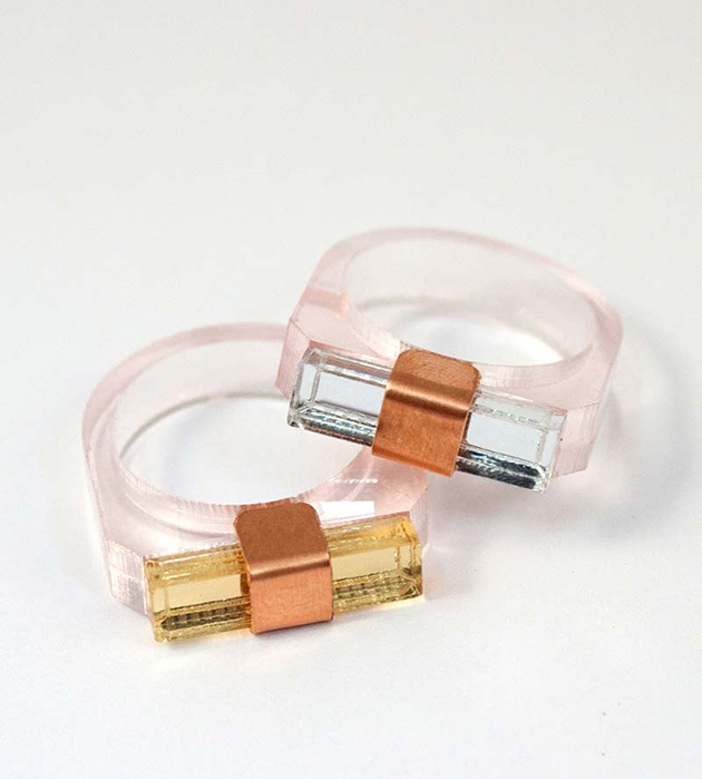 романтичное кольцо из плексигласа и меди Sash Pink от Wolf&Moon