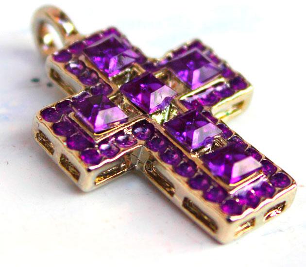 купить Винтажная подвеска крест с кристаллами 70гг. Германия фотография