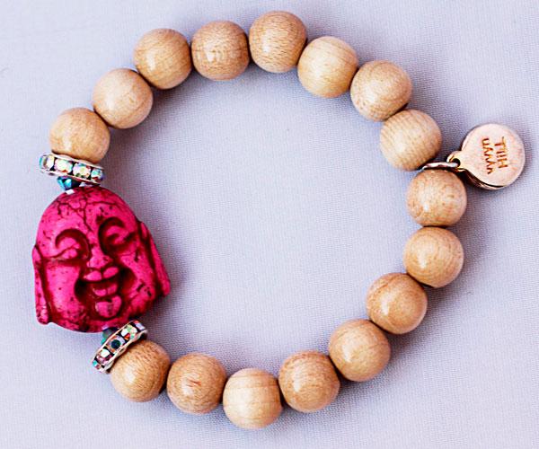 купить Браслет из с Буддой из камня говлита и кристаллов Swarovski фото