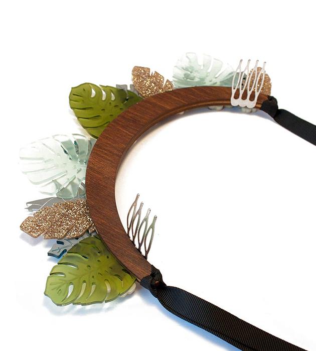 необычный ободок ручной работы из дерева и плексигласа от Wolf&Moon - Jungle Headpiece Tortoiseshell&Teal
