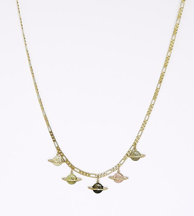 изящное ожерелье с подвесками-планетами Saturn  от Apres Ski