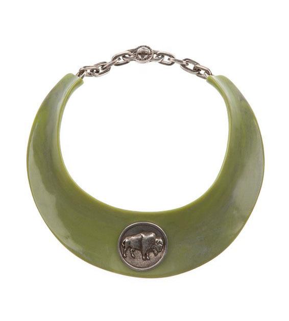 фото Чоккер женский колье-ошейник зеленого цвета Bimba & Lola на цепочке купить
