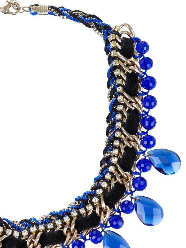 купить Синее женское колье-ожерелье из кристаллов фото купить