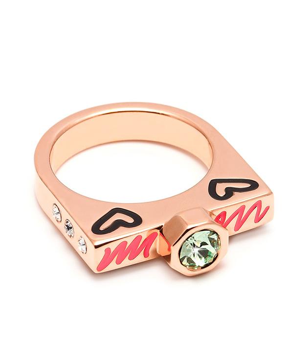 купите стильное кольцо Lover c кристаллами Swarovski и разноцветной эмалью от Maria Francesca Pepe
