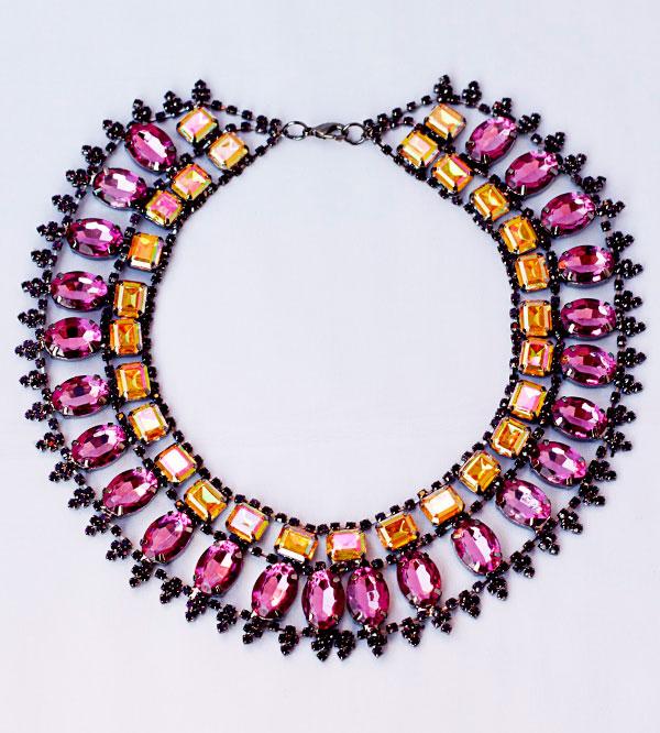 Вечернее женское колье-ожерелье из кристаллов купить