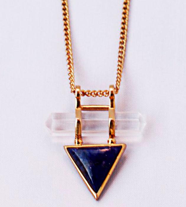 Купите треугольная винтажную подвеску с кристаллом и натуральным камнем фото