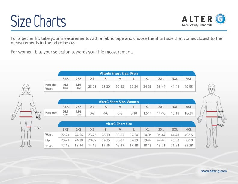 Размер шортов AlterG