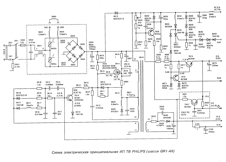 Схема блока питания телевизора rolsen