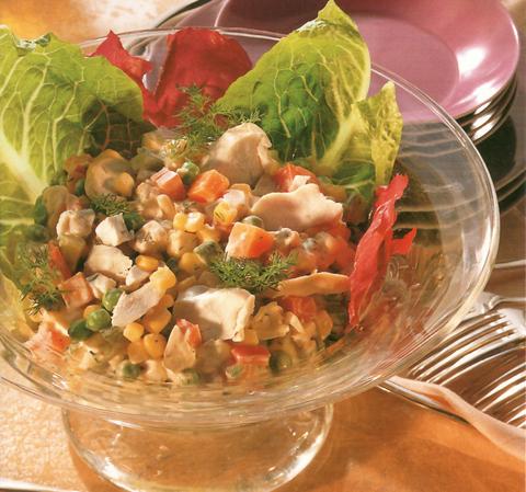 Овощной салат с курицей (Рецепт-211)