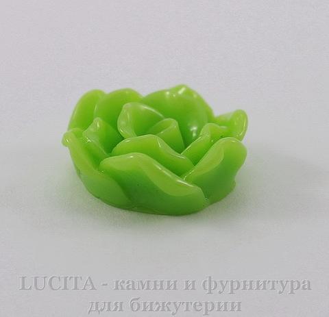 """Кабошон акриловый """"Роза"""", цвет - салатовый, 16 мм, 5 штук"""