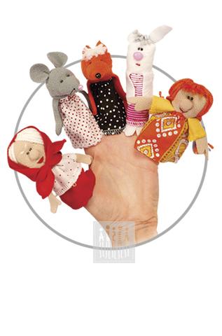 Фото Пальчиковые куклы Комплект № 4 ( 5 штук : внучка , заяц , лиса , мышь , бабка ) рисунок Развивающие куклы для девочек и мальчиков для домашнего театра: пальчиковые куклы для самых маленьких, марионетки, платковые куклы и др.