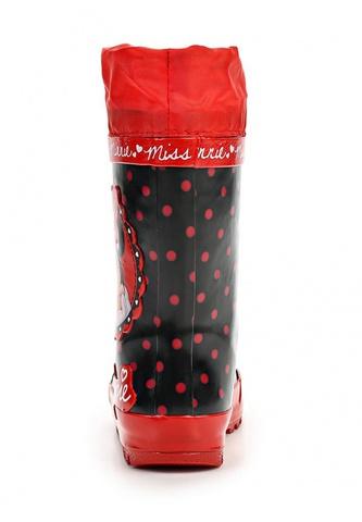 Резиновые сапоги Минни Маус (Minnie Mouse) на шнурках для девочек, цвет черный красный. Изображение 5 из 8.