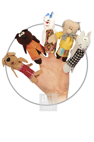 Фото Пальчиковые куклы Комплект № 2 ( 5 штук : собака , медведь , кошка , дед , волк ) рисунок Пальчиковый театр - это не только веселый досуг в семье и детском саду, но и важный элемент всестороннего развития ребенка.