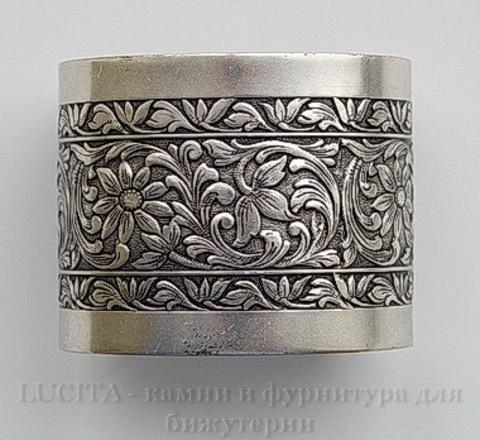 """Винтажная основа для браслета """"Цветы"""" (ширина - 49 мм) (оксид серебра)"""