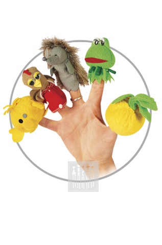Фото Пальчиковые куклы Комплект № 1 ( 5 штук : репка , лягушка , еж , курица , колобок ) рисунок Развивающие куклы для девочек и мальчиков для домашнего театра: пальчиковые куклы для самых маленьких, марионетки, платковые куклы и др.