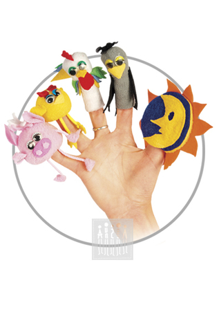 Фото Пальчиковые куклы Комплект № 3 ( 5 штук : солнце / месяц , ворона , петух , цыпленок , поросенок ) рисунок Пальчиковый театр - это не только веселый досуг в семье и детском саду, но и важный элемент всестороннего развития ребенка.