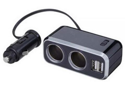 Разветвитель на 2 гнезда + 2 USB FIZZ-968