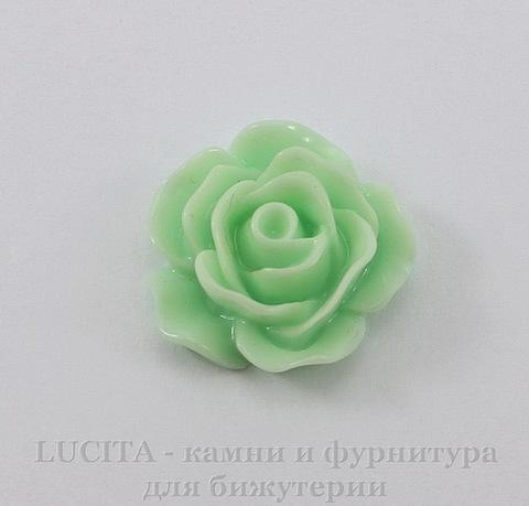 """Кабошон акриловый """"Роза"""", цвет - пастельно-зеленый, 19 мм"""