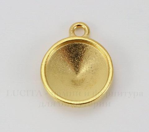 """Сеттинг - основа - подвеска TierraCast """"Грани"""" для страза 14 мм (цвет-золото)"""