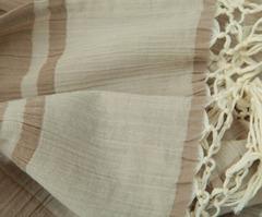 Элитный плед хлопковый Illusion дымчатый-коричневый от Hamam