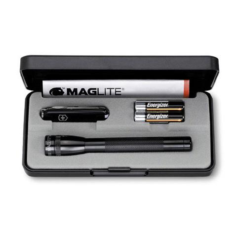 Купить Набор Victorinox 4.4024 (нож-брелок 0.6223.3, светодиодный фонарь Mini-Maglite, 12,5 см, чёрный) по доступной цене