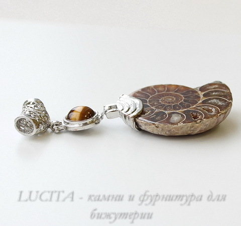 Подвеска Аммонит с Тигровым Глазом (цвет - античное серебро) 70х30х8 мм