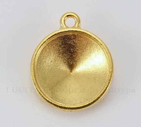 """Сеттинг - основа - подвеска TierraCast """"Грани"""" для страза 18 мм (цвет-золото)"""