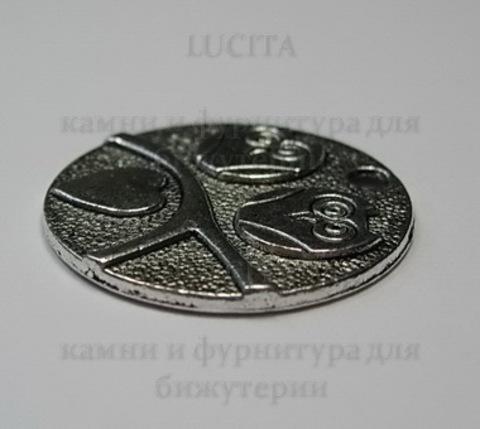 """Подвеска """"Влюбленные совы"""" 25 мм (цвет - античное серебро) ()"""