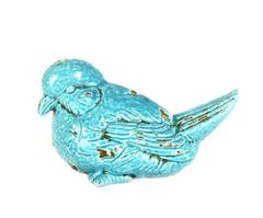 Элитная статуэтка Птичка Craquelure голубая левая от Sporvil