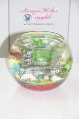 Мини аквариум шар 5 л с крепостью