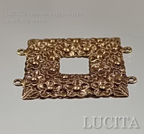 Винтажный декоративный элемент - коннектор (2-2) 34х29 мм (оксид латуни)