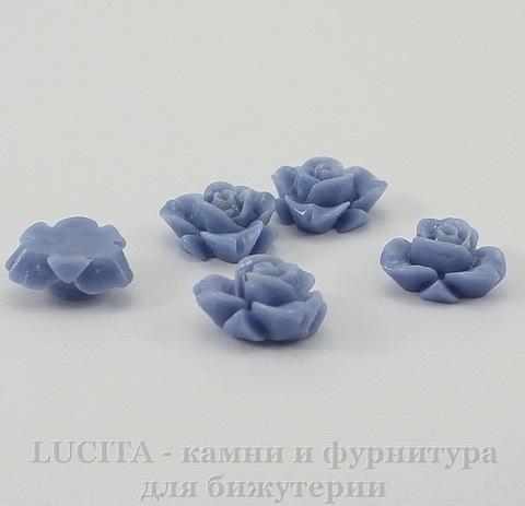 """Кабошон акриловый """"Цветок"""", цвет - васильковый, 12 мм"""