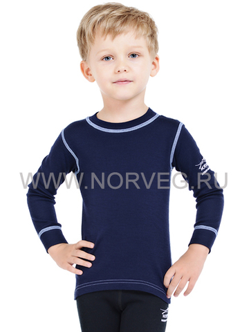 Терморубашка из шерсти мериноса Norveg Soft Dark Blue детская