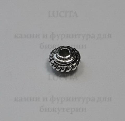 Бусина металлическая - рондель (цвет - античное серебро ) 5х3 мм, 10 штук ()