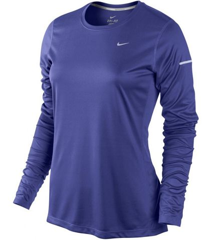 Футболка Nike Miler LS UV Top (W) /Рубашка беговая синяя
