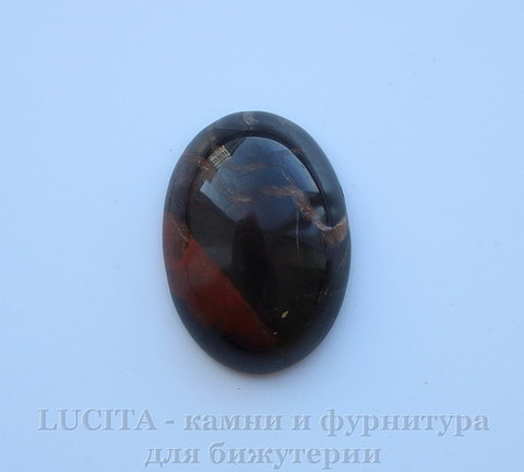 Кабошон овальный Яшма Брекчиевая (цвет - темно-коричневый) 25х18х7 мм №3 ()