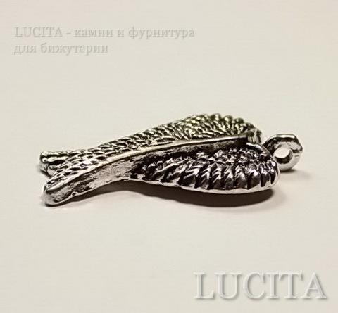 """Подвеска """"Крылья ангела"""" (цвет - античное серебро) 28х17 мм ()"""