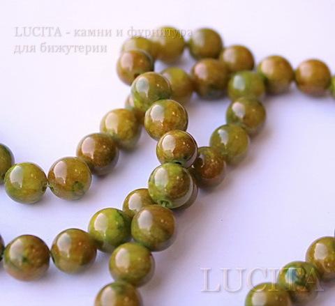 Бусина Жадеит (тониров), шарик, цвет - оливково-желтый, 8 мм, нить