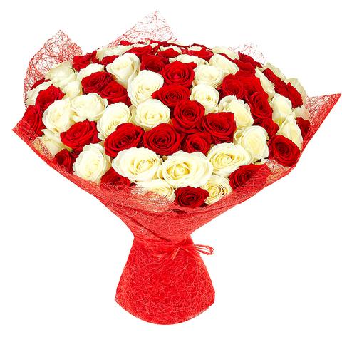 Букет микс из 51 розы/ 70-80 см.